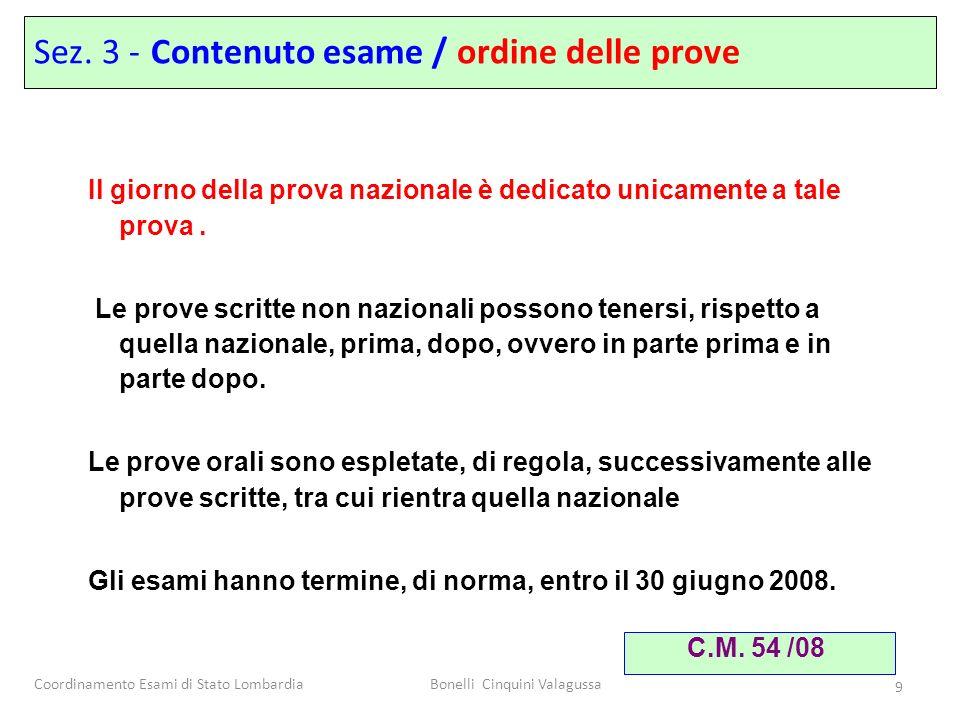 Coordinamento Esami di Stato LombardiaBonelli Cinquini Valagussa 9 Il giorno della prova nazionale è dedicato unicamente a tale prova. Le prove scritt