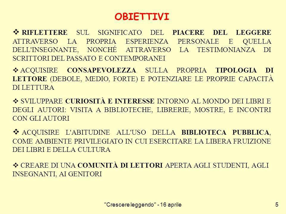 Crescere leggendo - 16 aprile6 FASI DI LAVORO - DURANTE LANNO SCOLASTICO 1.