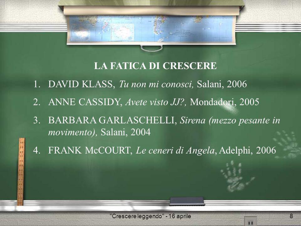Crescere leggendo - 16 aprile9 1.DAVID KLASS, Tu non mi conosci, Salani, 2006 2.