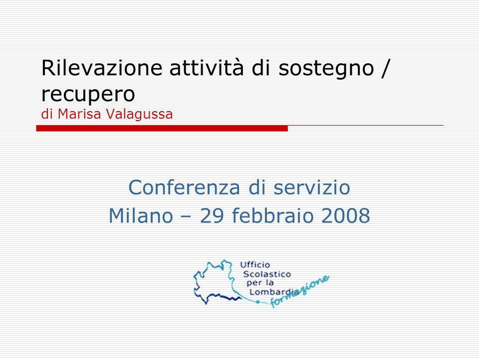 Rilevazione attività di sostegno / recupero di Marisa Valagussa Conferenza di servizio Milano – 29 febbraio 2008