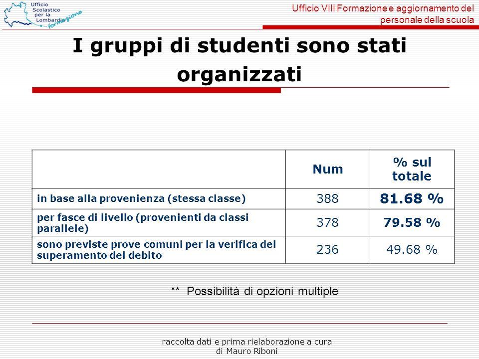 Ufficio VIII Formazione e aggiornamento del personale della scuola raccolta dati e prima rielaborazione a cura di Mauro Riboni I gruppi di studenti so