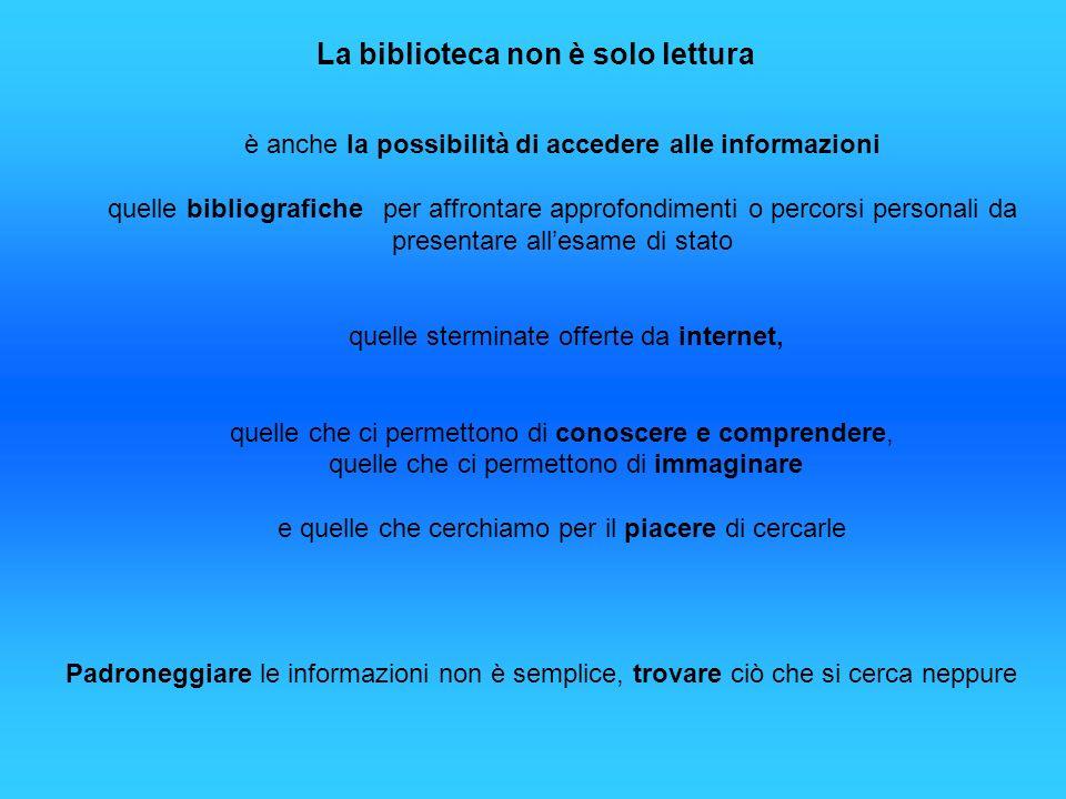 La biblioteca non è solo lettura è anche la possibilità di accedere alle informazioni quelle bibliografiche per affrontare approfondimenti o percorsi