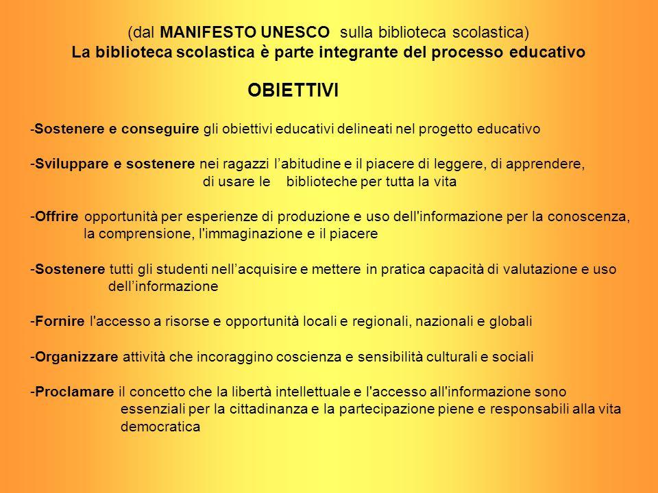 - Sostenere e conseguire gli obiettivi educativi delineati nel progetto educativo -Sviluppare e sostenere nei ragazzi labitudine e il piacere di legge