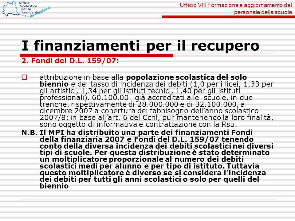 Ufficio VIII Formazione e aggiornamento del personale della scuola I finanziamenti per il recupero 2. Fondi del D.L. 159/07: attribuzione in base alla