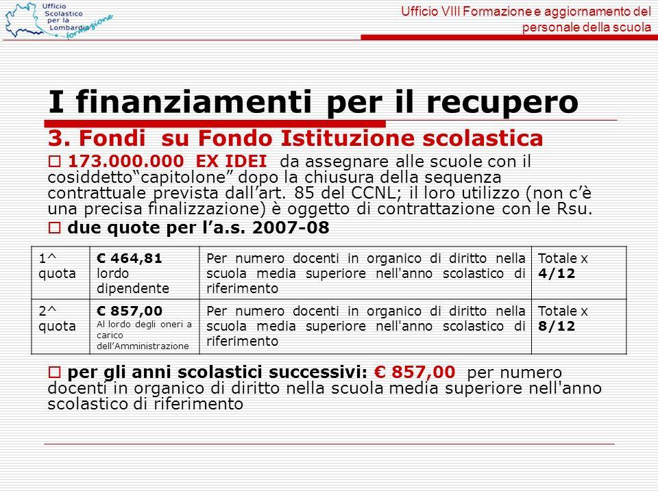 Ufficio VIII Formazione e aggiornamento del personale della scuola I finanziamenti per il recupero 3. Fondi su Fondo Istituzione scolastica 173.000.00