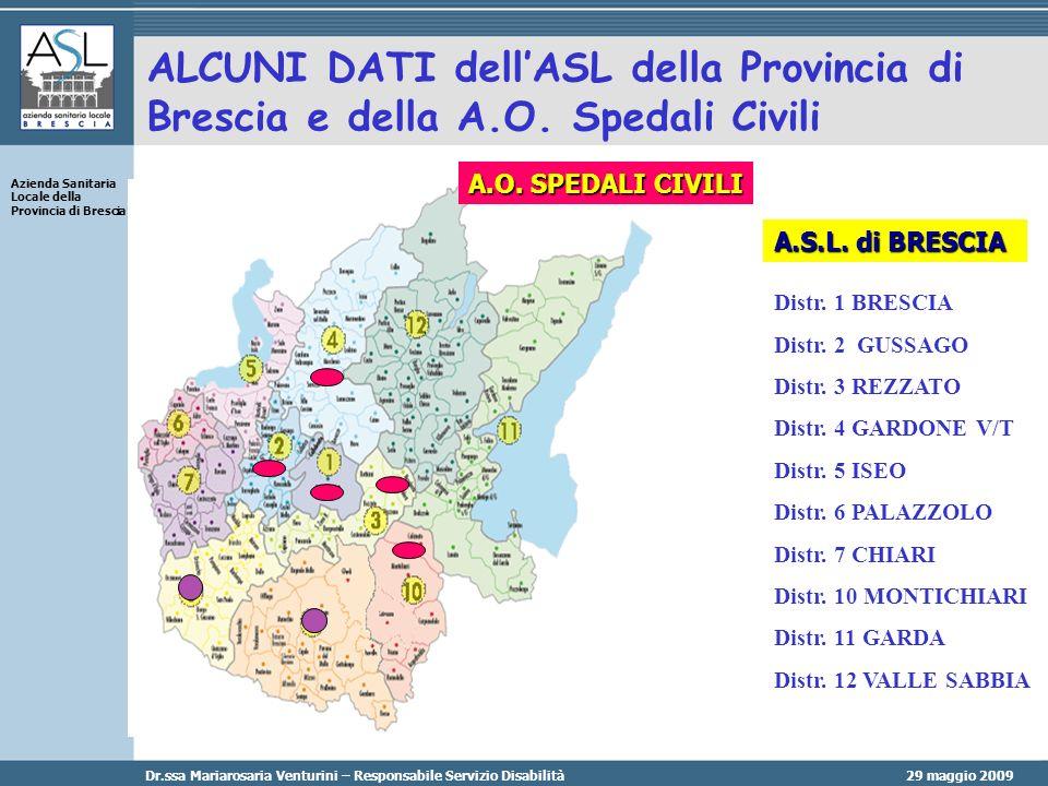 29 maggio 2009 Azienda Sanitaria Locale della Provincia di Brescia Dr.ssa Mariarosaria Venturini – Responsabile Servizio Disabilità ALCUNI DATI dellASL della Provincia di Brescia e della A.O.
