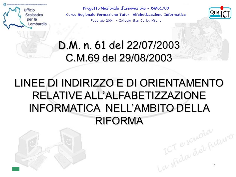 1 D.M. n.