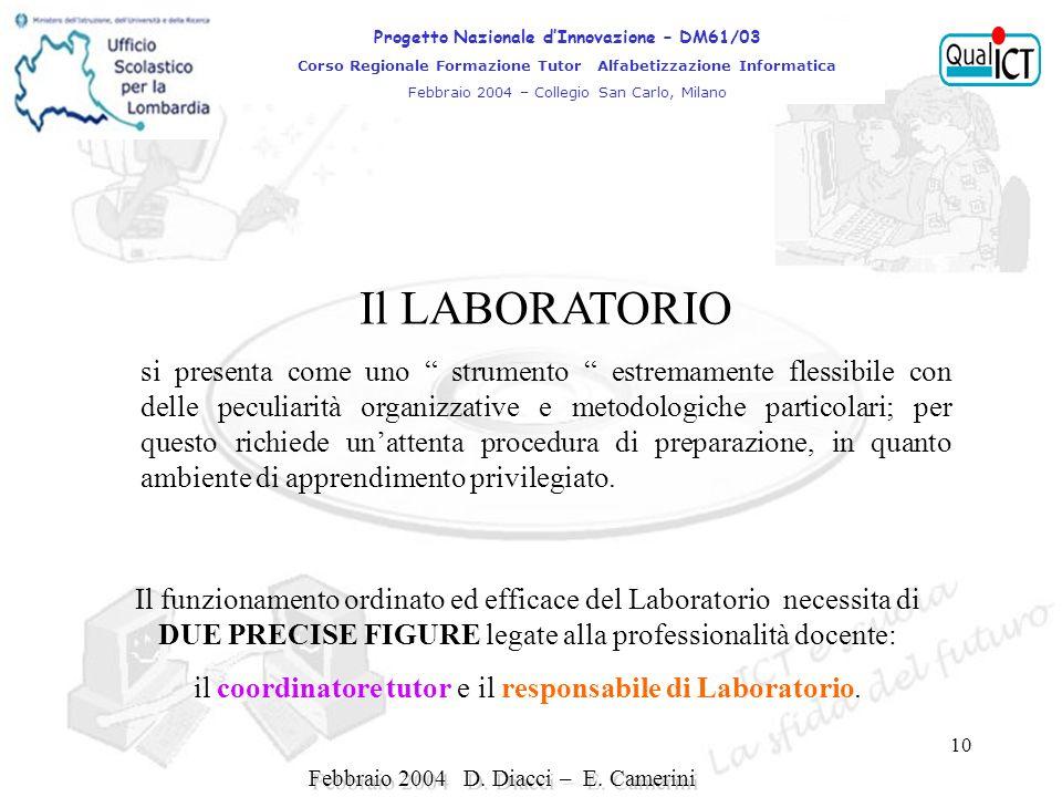 10 Il funzionamento ordinato ed efficace del Laboratorio necessita di DUE PRECISE FIGURE legate alla professionalità docente: il coordinatore tutor e il responsabile di Laboratorio.