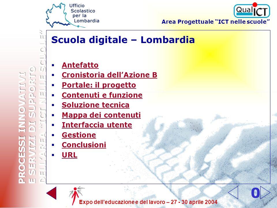 Area Progettuale ICT nelle scuole Expo delleducazione e del lavoro – 27 - 30 aprile 2004 10 URL http://scuoladigitale.lombardia.it Buona navigazione!