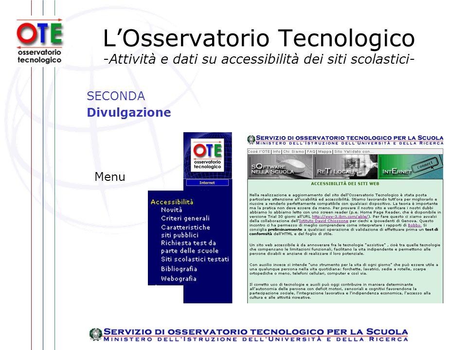 LOsservatorio Tecnologico -Attività e dati su accessibilità dei siti scolastici- SECONDA Divulgazione Menu