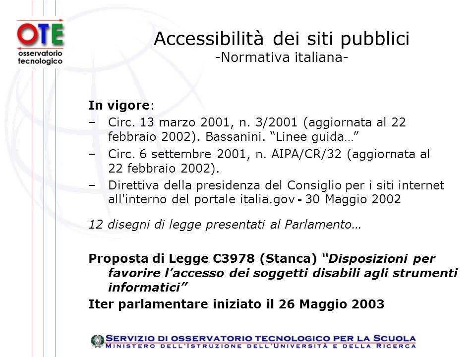 Accessibilità dei siti pubblici -Normativa italiana- In vigore: –Circ.