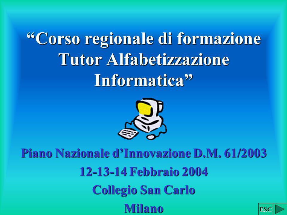 Corso regionale di formazione Tutor Alfabetizzazione Informatica Piano Nazionale dInnovazione D.M. 61/2003 12-13-14 Febbraio 2004 Collegio San Carlo M