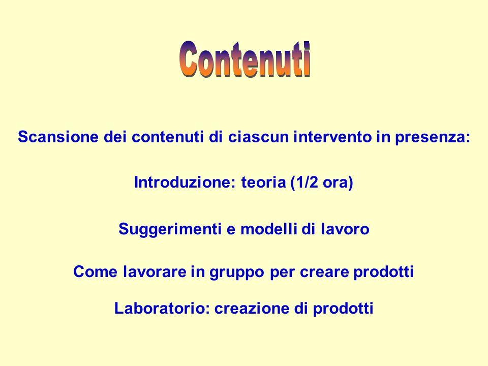 Introduzione: teoria (1/2 ora) Suggerimenti e modelli di lavoro Laboratorio: creazione di prodotti Scansione dei contenuti di ciascun intervento in presenza: Come lavorare in gruppo per creare prodotti