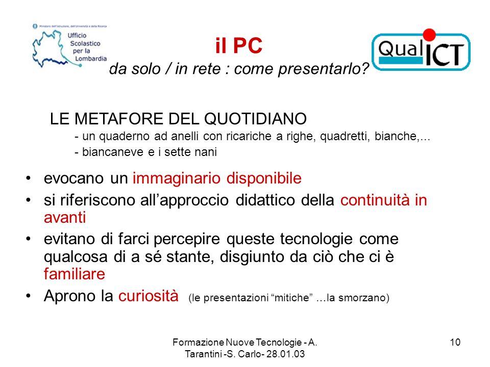 Formazione Nuove Tecnologie - A. Tarantini -S. Carlo- 28.01.03 10 il PC da solo / in rete : come presentarlo? evocano un immaginario disponibile si ri