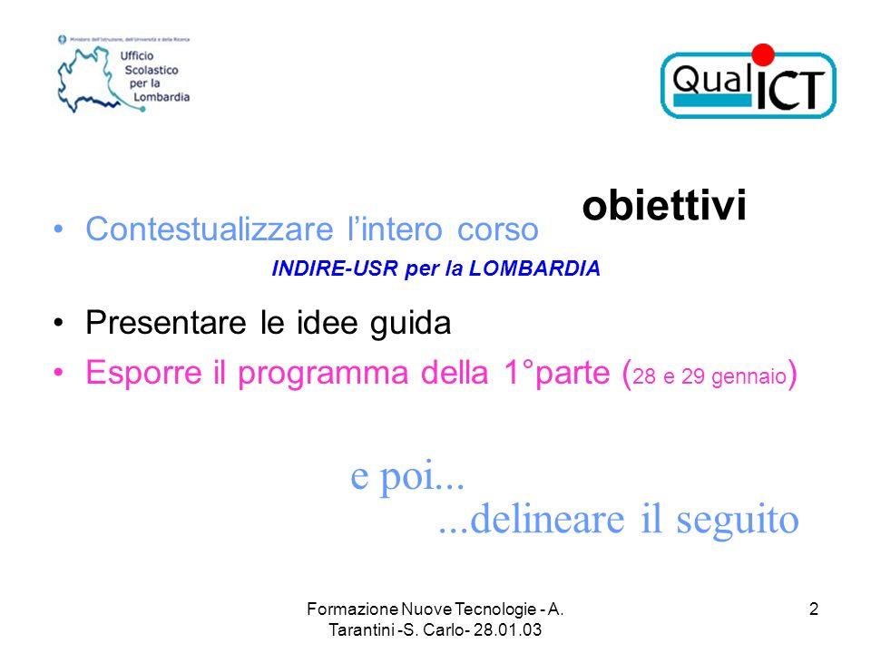 Formazione Nuove Tecnologie - A. Tarantini -S. Carlo- 28.01.03 2 obiettivi Contestualizzare lintero corso INDIRE-USR per la LOMBARDIA Presentare le id