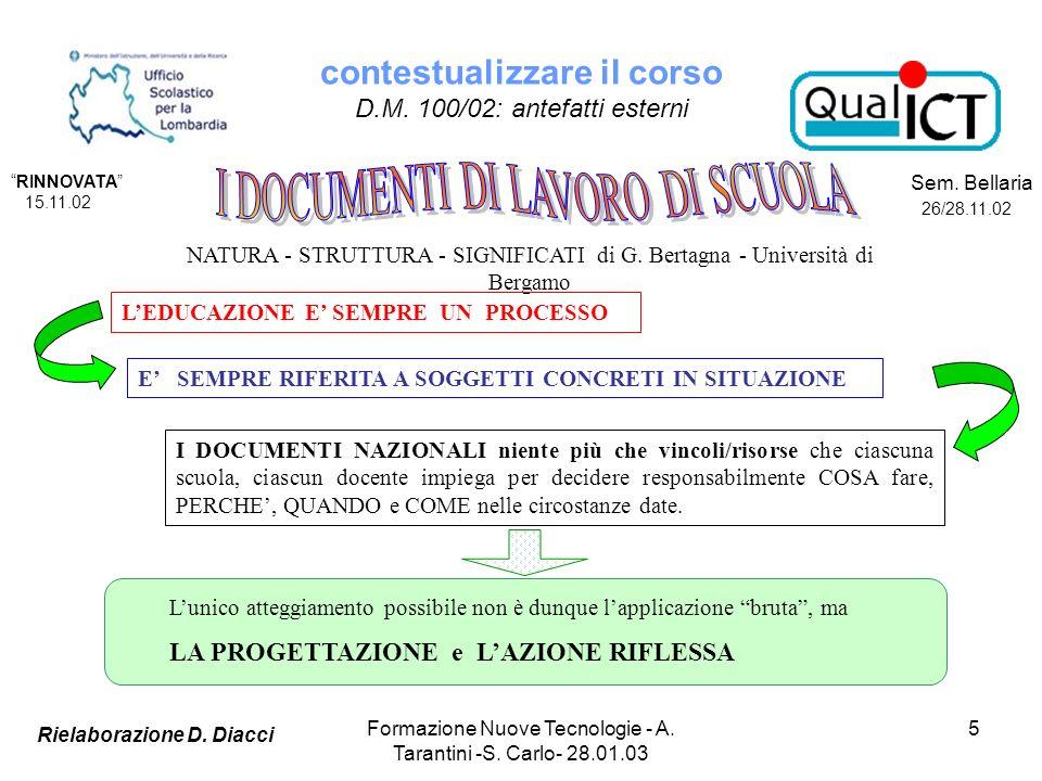 Formazione Nuove Tecnologie - A. Tarantini -S. Carlo- 28.01.03 5 NATURA - STRUTTURA - SIGNIFICATI di G. Bertagna - Università di Bergamo LEDUCAZIONE E