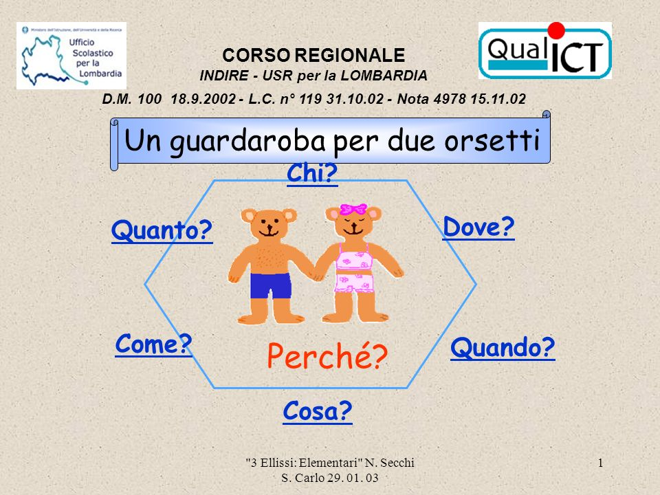 3 Ellissi: Elementari N.Secchi S. Carlo 29. 01.