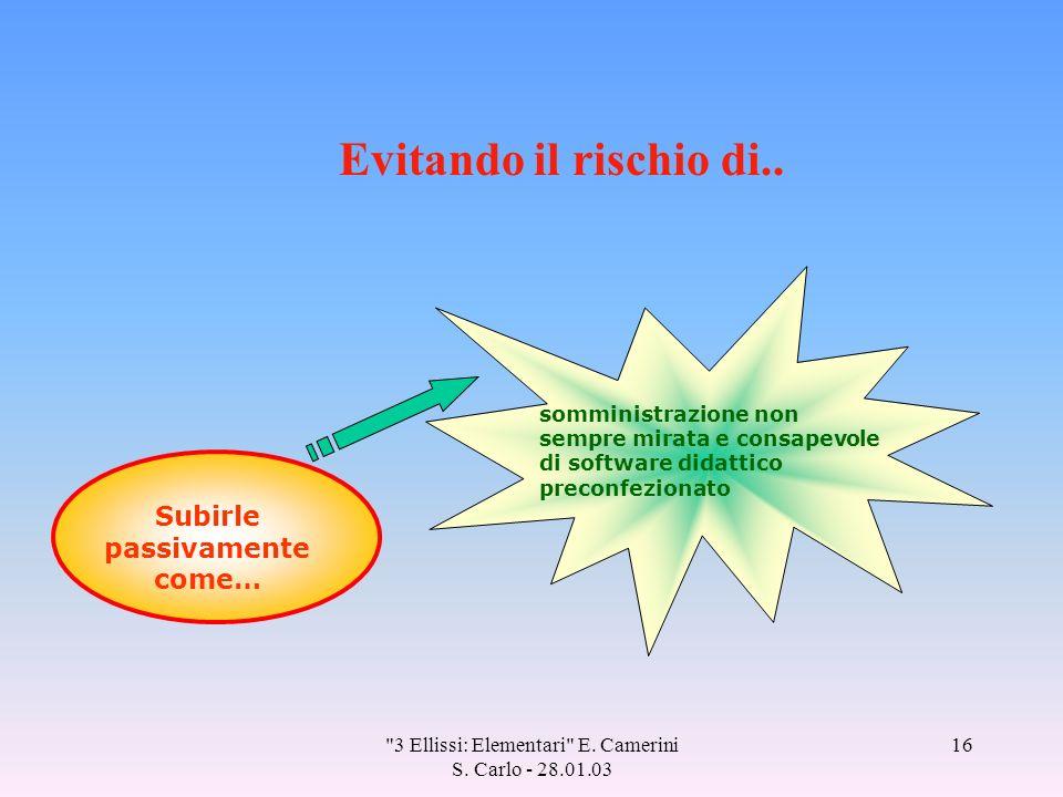 3 Ellissi: Elementari E. Camerini S. Carlo - 28.01.03 16 Evitando il rischio di..