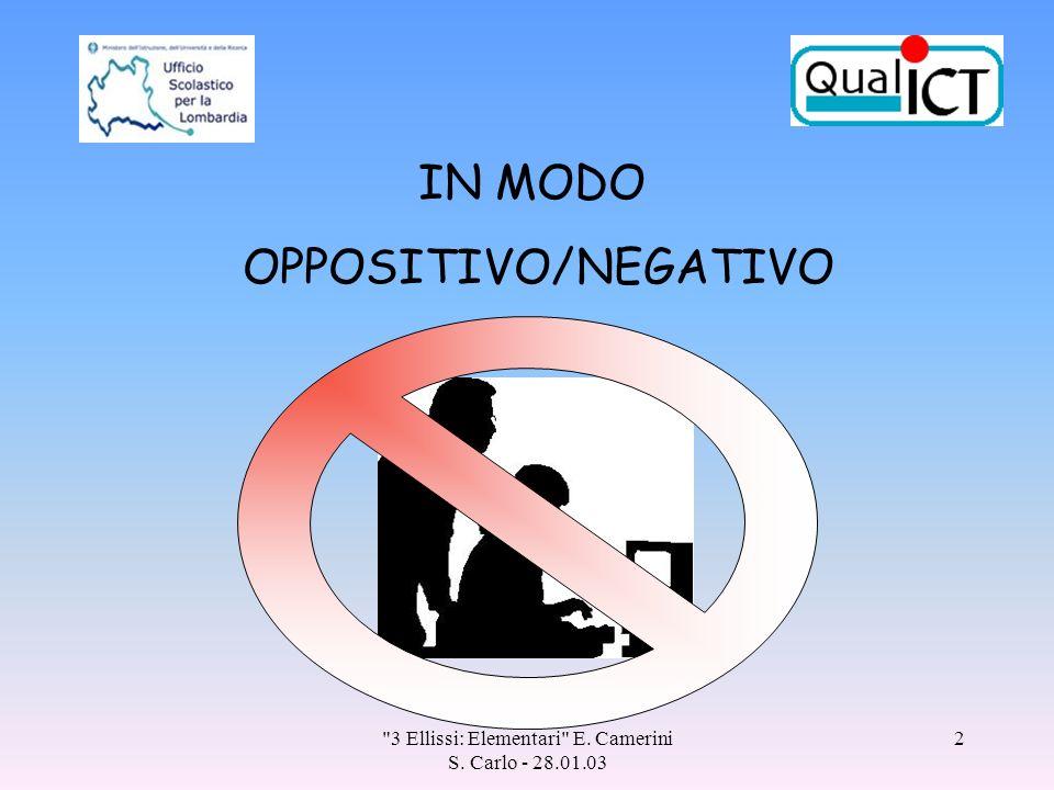 3 Ellissi: Elementari E. Camerini S. Carlo - 28.01.03 2 IN MODO OPPOSITIVO/NEGATIVO