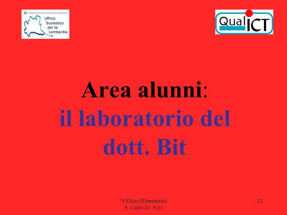 3 Ellissi Elementari: S. Carlo 20. 5.03 12 Area alunni: il laboratorio del dott. Bit