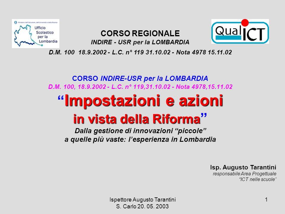 Ispettore Augusto Tarantini S. Carlo 20. 05. 2003 1 Impostazioni e azioni in vista della Riforma CORSO INDIRE-USR per la LOMBARDIA D.M. 100, 18.9.2002
