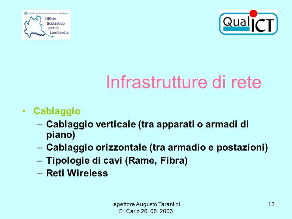 Ispettore Augusto Tarantini S. Carlo 20. 05. 2003 12 Infrastrutture di rete Cablaggio –Cablaggio verticale (tra apparati o armadi di piano) –Cablaggio