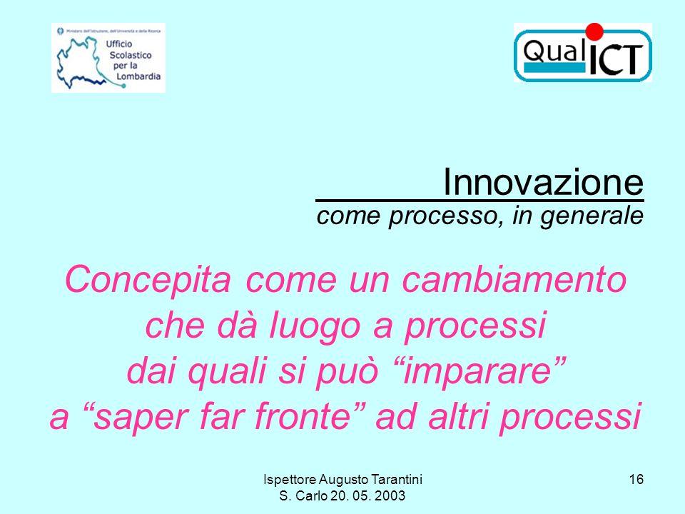 Ispettore Augusto Tarantini S. Carlo 20. 05. 2003 16 Innovazione come processo, in generale Concepita come un cambiamento che dà luogo a processi dai