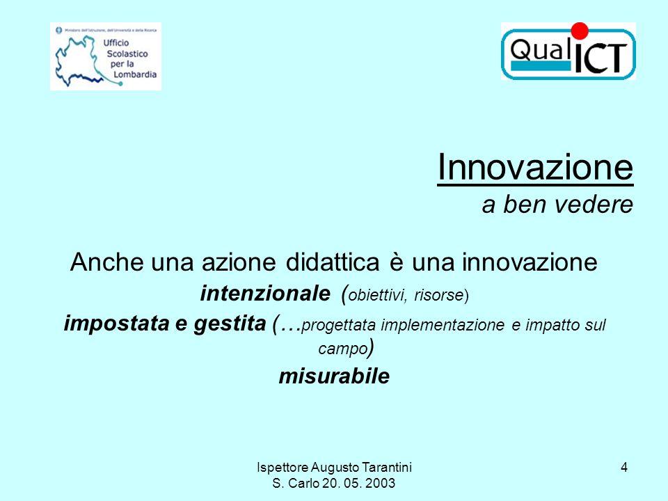 Ispettore Augusto Tarantini S. Carlo 20. 05. 2003 4 Anche una azione didattica è una innovazione intenzionale ( obiettivi, risorse) impostata e gestit