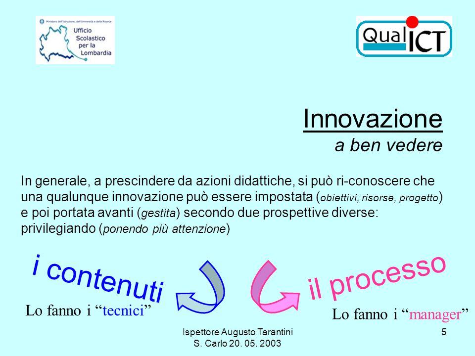 Ispettore Augusto Tarantini S. Carlo 20. 05. 2003 5 Innovazione a ben vedere In generale, a prescindere da azioni didattiche, si può ri-conoscere che