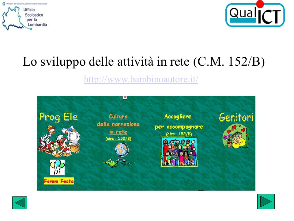 Lo sviluppo delle attività in rete (C.M. 152/B) http://www.bambinoautore.it/