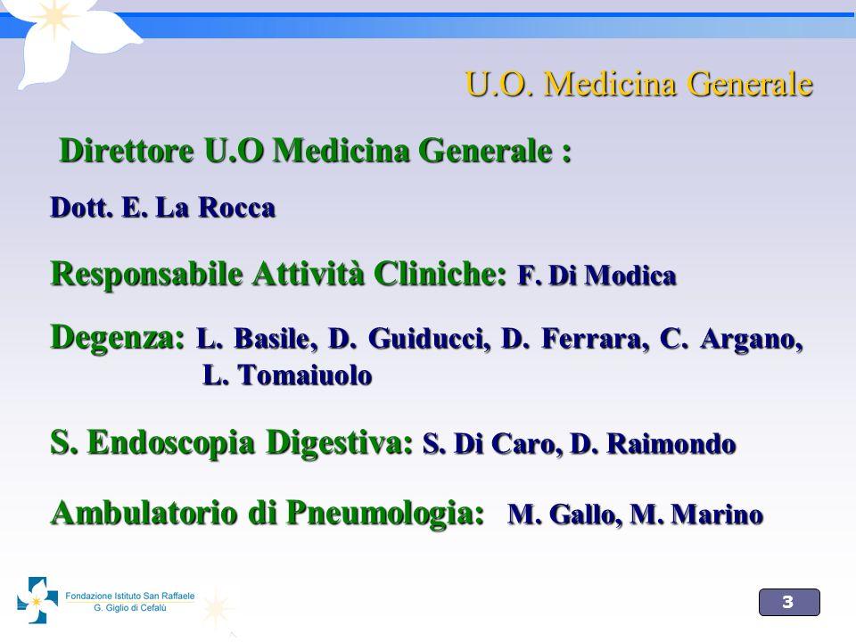 4 U.O.Medicina 30 letti PS Ambulatori area medica Endoscopia U.O.