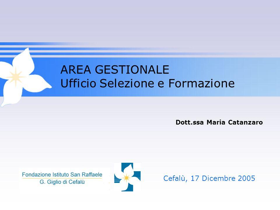AREA GESTIONALE Ufficio Selezione e Formazione Cefalù, 17 Dicembre 2005 Dott.ssa Maria Catanzaro