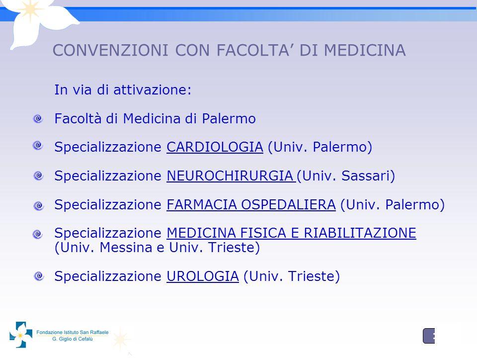 11 CONVENZIONI CON FACOLTA DI MEDICINA In via di attivazione: Facoltà di Medicina di Palermo Specializzazione CARDIOLOGIA (Univ.