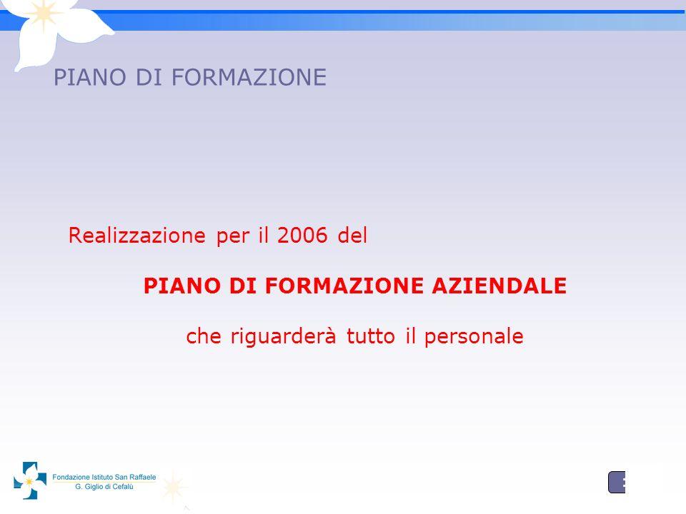 17 PIANO DI FORMAZIONE Realizzazione per il 2006 del PIANO DI FORMAZIONE AZIENDALE che riguarderà tutto il personale