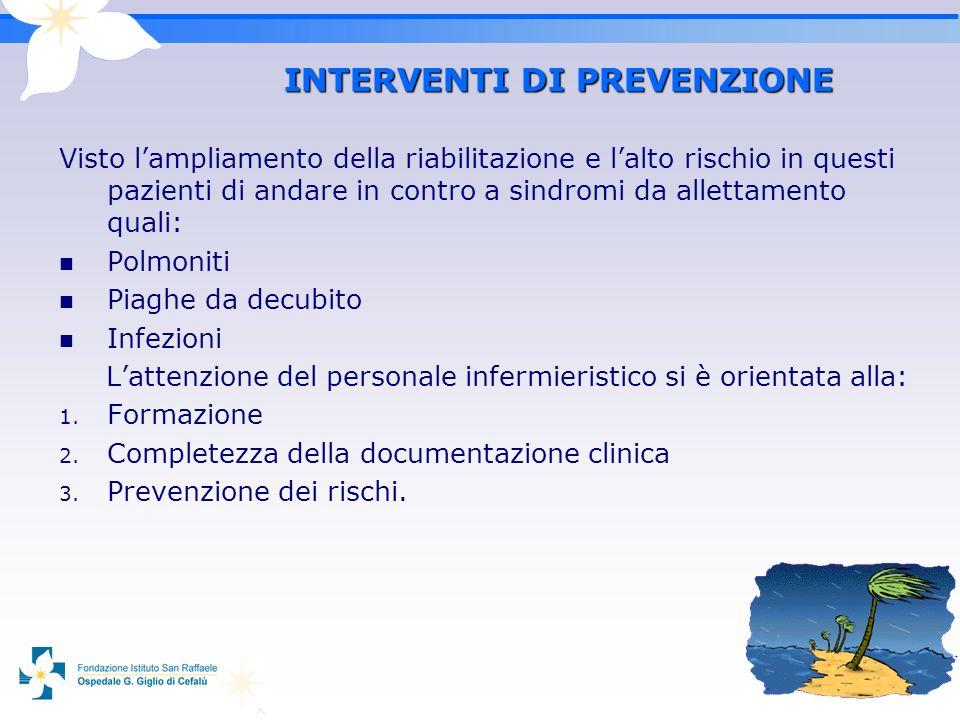 5 INTERVENTI DI PREVENZIONE Visto lampliamento della riabilitazione e lalto rischio in questi pazienti di andare in contro a sindromi da allettamento
