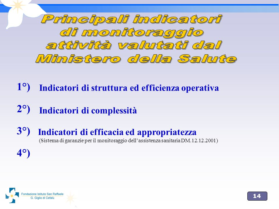 14 1°) 2°) 3°) 4°) Indicatori di struttura ed efficienza operativa Indicatori di complessità Indicatori di efficacia ed appropriatezza (Sistema di garanzie per il monitoraggio dellassistenza sanitaria DM.12.12.2001)