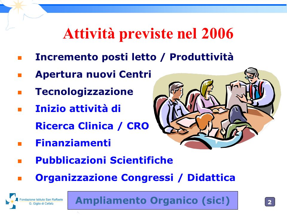 2020 Attività previste nel 2006 n Incremento posti letto / Produttività n Apertura nuovi Centri n Tecnologizzazione n Inizio attività di Ricerca Clini