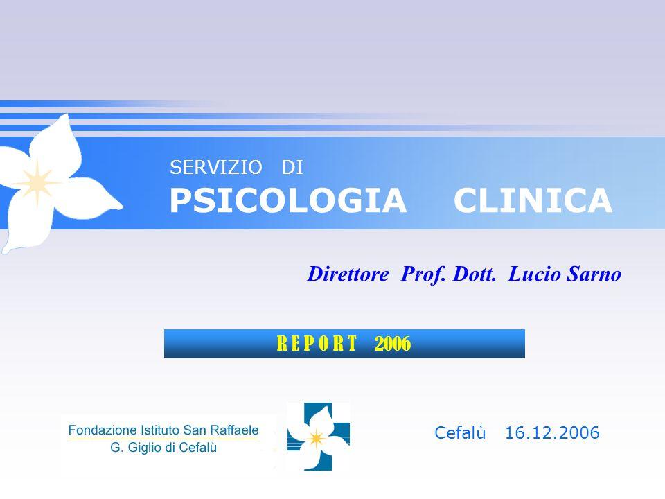 SERVIZIO DI PSICOLOGIA CLINICA Cefalù 16.12.2006 Direttore Prof. Dott. Lucio Sarno R E P O R T 2006