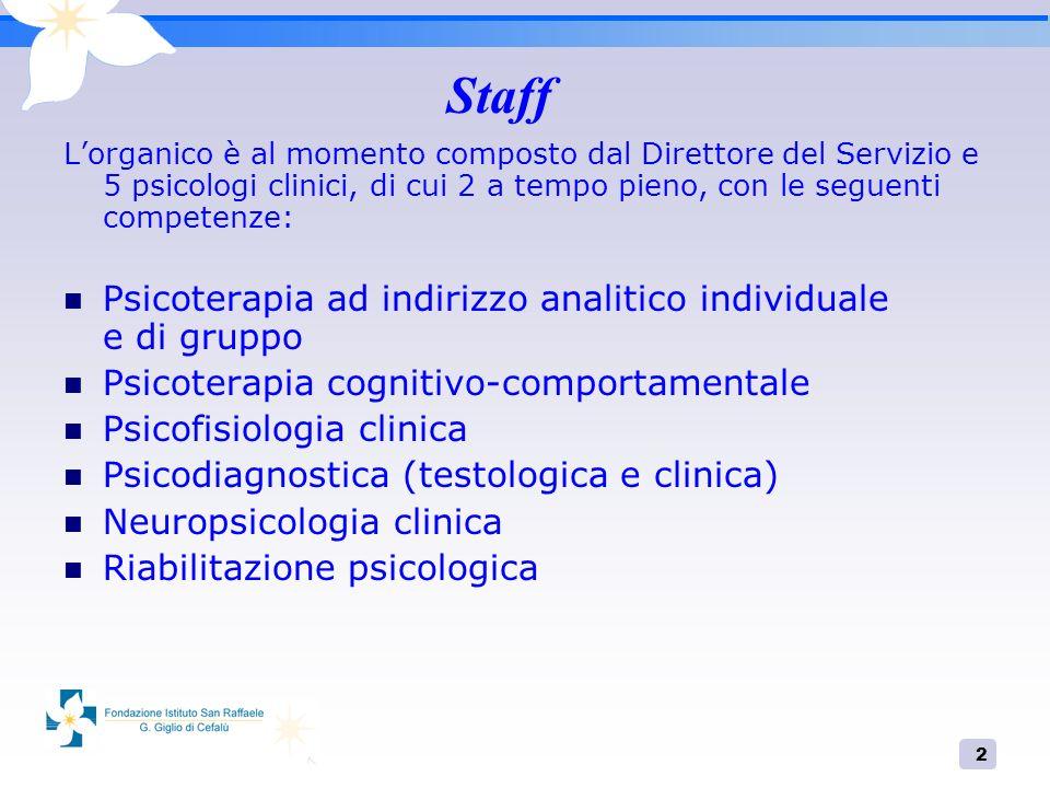2 Staff Lorganico è al momento composto dal Direttore del Servizio e 5 psicologi clinici, di cui 2 a tempo pieno, con le seguenti competenze: Psicoter