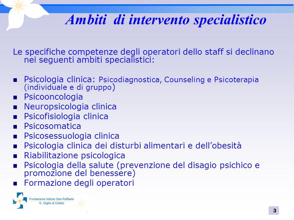 3 Ambiti di intervento specialistico Le specifiche competenze degli operatori dello staff si declinano nei seguenti ambiti specialistici: Psicologia c