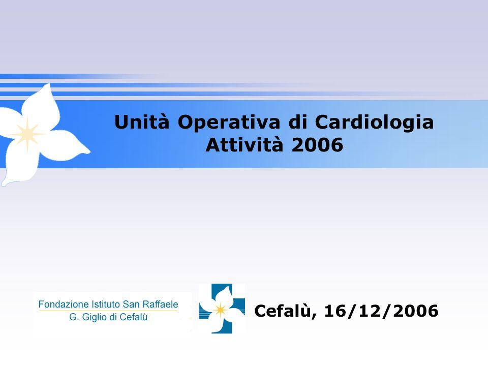 Unità Operativa di Cardiologia Attività 2006 Cefalù, 16/12/2006