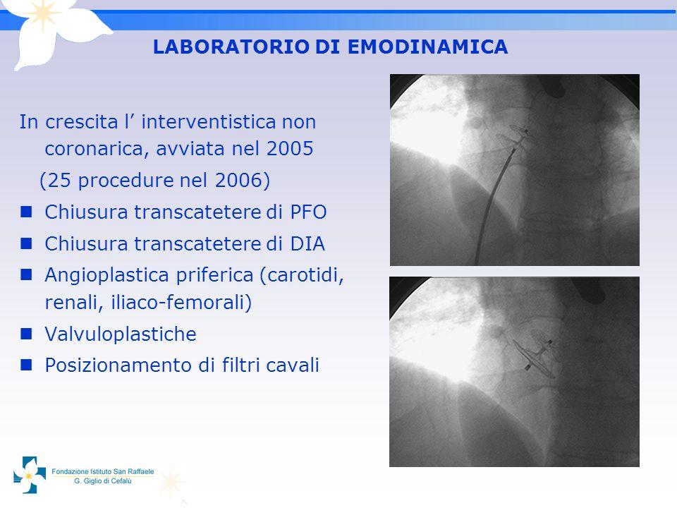 In crescita l interventistica non coronarica, avviata nel 2005 (25 procedure nel 2006) Chiusura transcatetere di PFO Chiusura transcatetere di DIA Ang