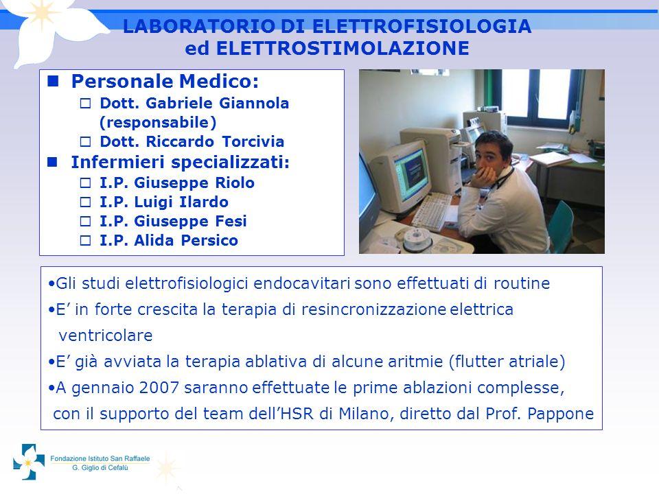 LABORATORIO DI ELETTROFISIOLOGIA ed ELETTROSTIMOLAZIONE Personale Medico: Dott. Gabriele Giannola (responsabile) Dott. Riccardo Torcivia Infermieri sp