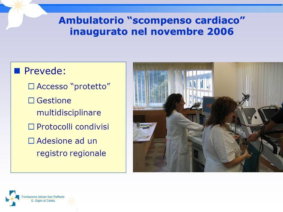 Ambulatorio scompenso cardiaco inaugurato nel novembre 2006 Prevede: Accesso protetto Gestione multidisciplinare Protocolli condivisi Adesione ad un r
