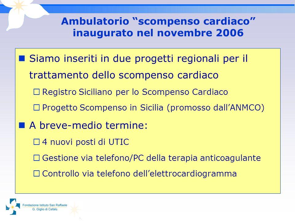 Siamo inseriti in due progetti regionali per il trattamento dello scompenso cardiaco Registro Siciliano per lo Scompenso Cardiaco Progetto Scompenso i