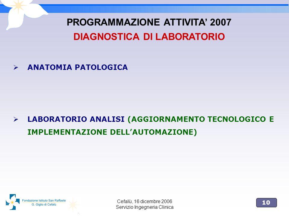 10 Cefalù, 16 dicembre 2006 Servizio Ingegneria Clinica ANATOMIA PATOLOGICA LABORATORIO ANALISI (AGGIORNAMENTO TECNOLOGICO E IMPLEMENTAZIONE DELLAUTOM