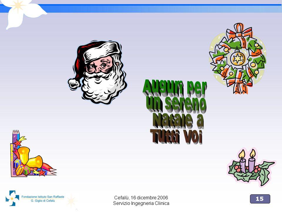 15 Cefalù, 16 dicembre 2006 Servizio Ingegneria Clinica