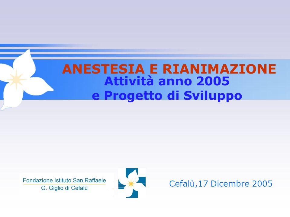 Attività anno 2005 e Progetto di Sviluppo Cefalù,17 Dicembre 2005 ANESTESIA E RIANIMAZIONE