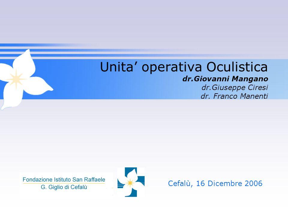 Unita operativa Oculistica dr.Giovanni Mangano dr.Giuseppe Ciresi dr. Franco Manenti Cefalù, 16 Dicembre 2006