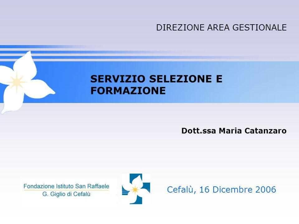 SERVIZIO SELEZIONE E FORMAZIONE Cefalù, 16 Dicembre 2006 Dott.ssa Maria Catanzaro DIREZIONE AREA GESTIONALE